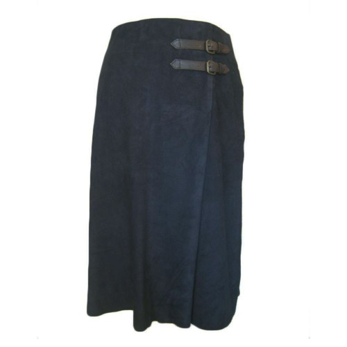 Anna Lascata Pleat Skirt Buckle Navy Blue