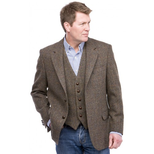 Harris Tweed Heren Colbert Peter James Brown Check