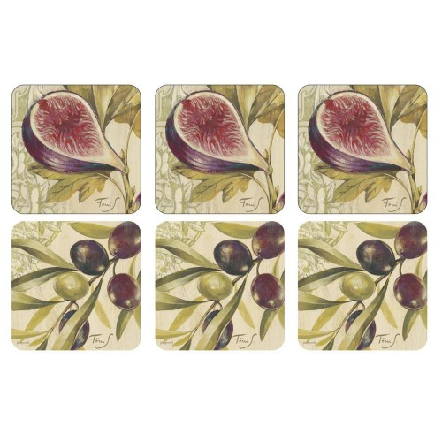 Pimpernel coasters Figs & Olives set 6