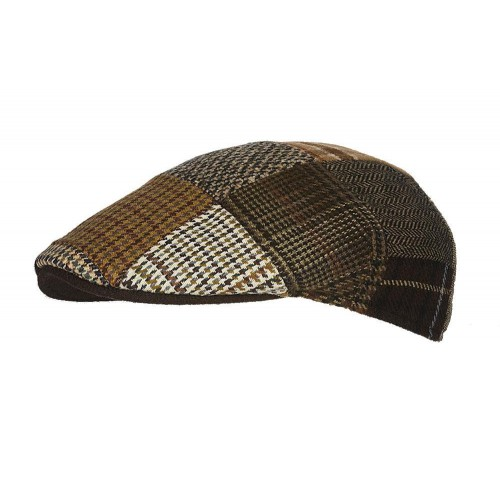 Hatland Flat Cap Patchwork Brown