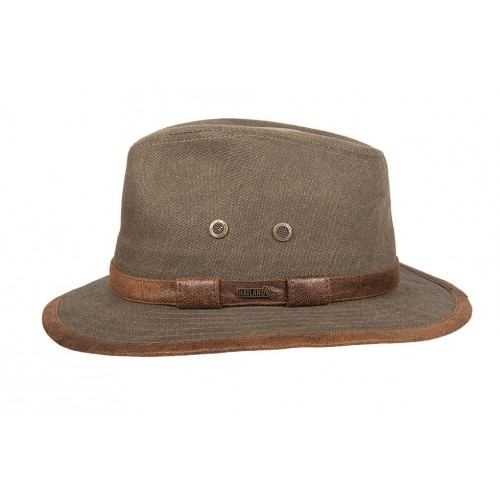 Hatland hoed Salford Washed Canvas Olive
