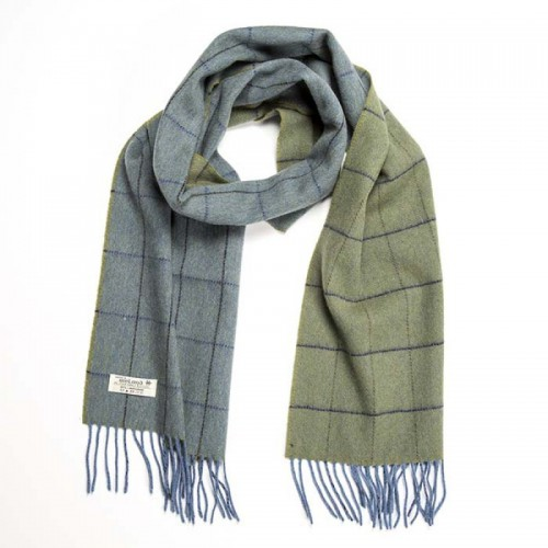 John Hanly Irish Wool Scarf Medium Blue Green Windowpane
