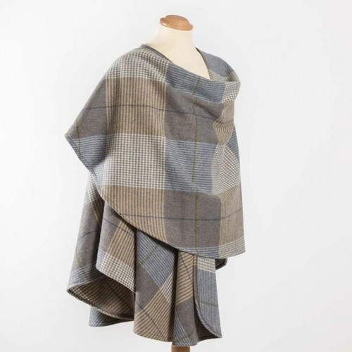 John Hanly Lambswool Cape Cream Taupe Denim Check
