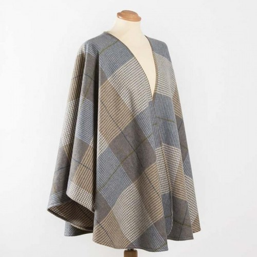 John Hanly Lambswool Cape Cream Taupe Denim Check 616