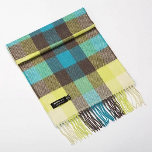 John Hanly Fine Merino Scarf Turquoise, Yellow, Brown Block