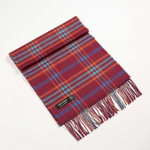 John Hanly Merino Scarf  Red, Orange, Blue