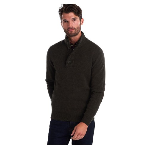 Barbour Patch Half Zip Sweater Seaweed