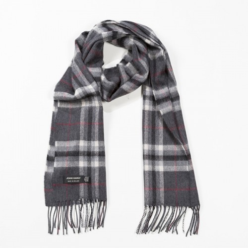 John Hanly Fine  Merino Scarf Charcoal Grey Plaid