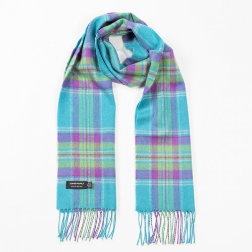 John Hanly Fine Merino Scarf Aqua Purple Green Plaid