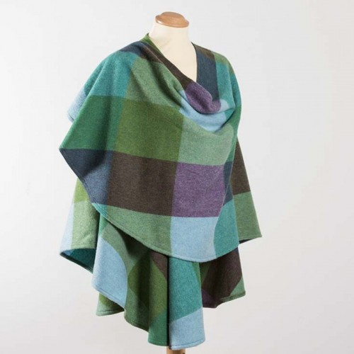 John Hanly Lambswool Cape Blue Green Check
