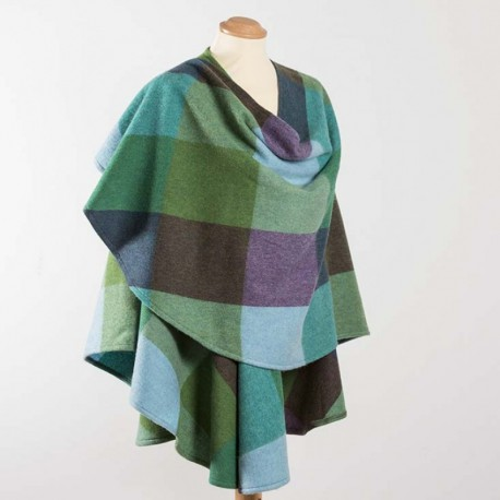 John Hanly Cape Sue Blue Green Check 646