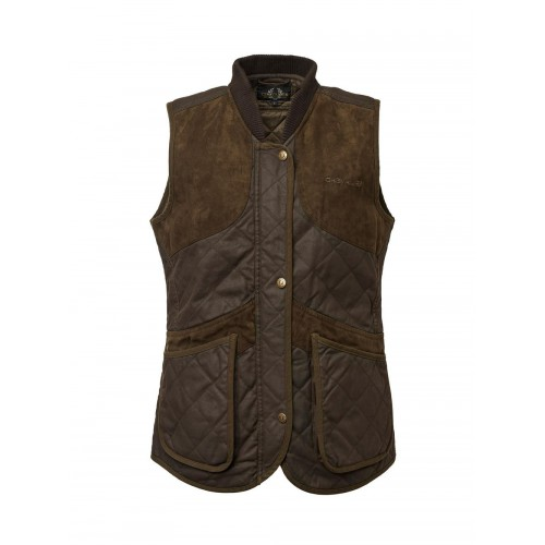 Chevalier Vintage Shooting Vest Women Leather Brown