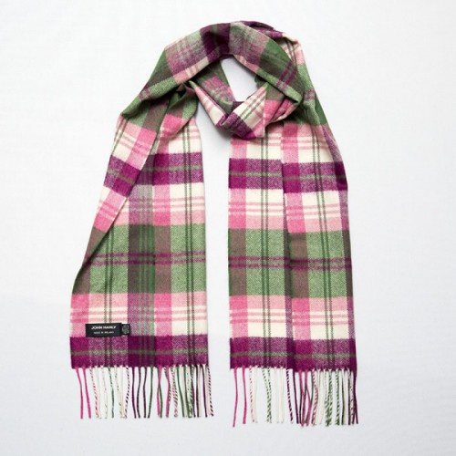 John Hanly Merino Scarf Green Pink Maroon Plaid 134