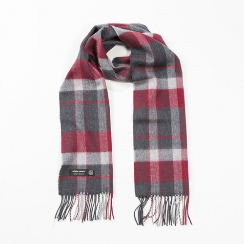 John Hanly Merino Scarf - Charcoal Silver Red Check 140