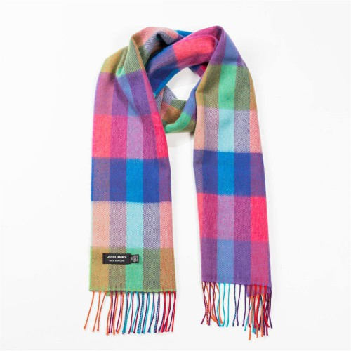 John Hanly Fine Merino Scarf Bright Rainbow Mix Small Block Check 102
