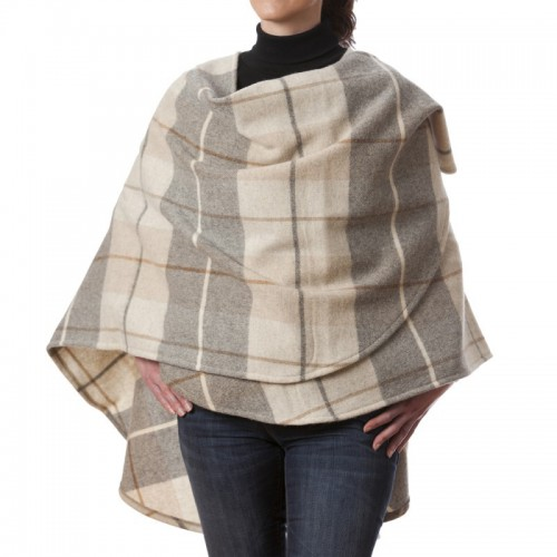 John Hanly Lambswool Cape Cream Brown Tartan Mix
