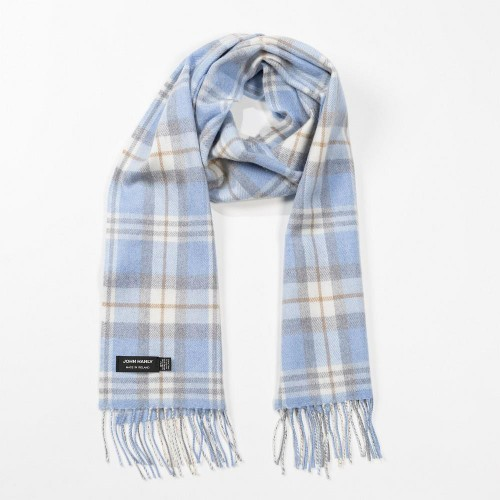 John Hanly Merino Scarf - Baby Blue Cream Check