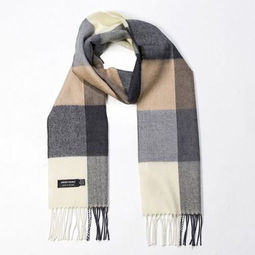 John Hanly Merino Scarf Cream Brown & Black Block Check 162