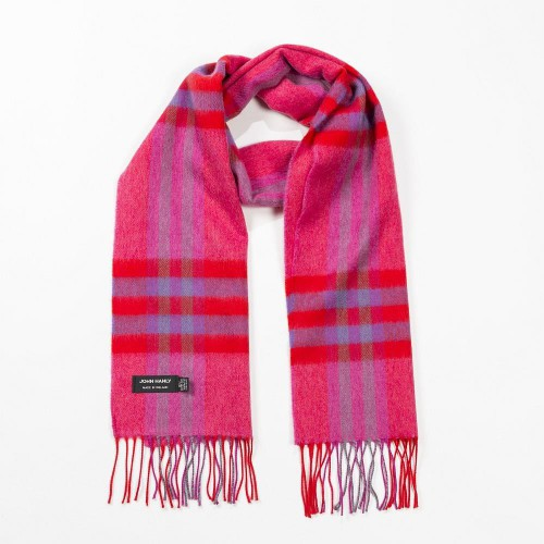 John Hanly Merino Scarf - Pink Red Purple Check 177
