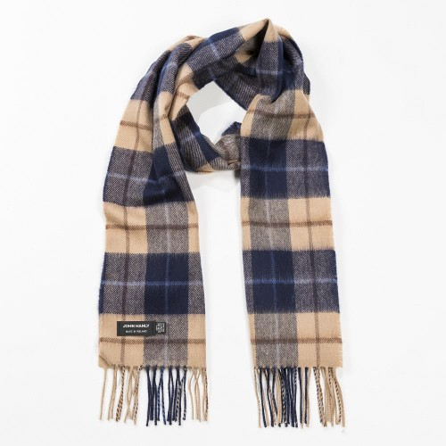 John Hanly Scarf Merino - Navy Beige Brown Check 118