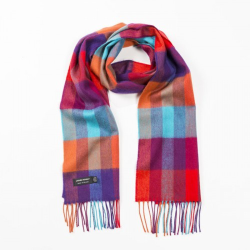 John Hanly Merino Scarf - Orange, Purple & Turquoise Block 130
