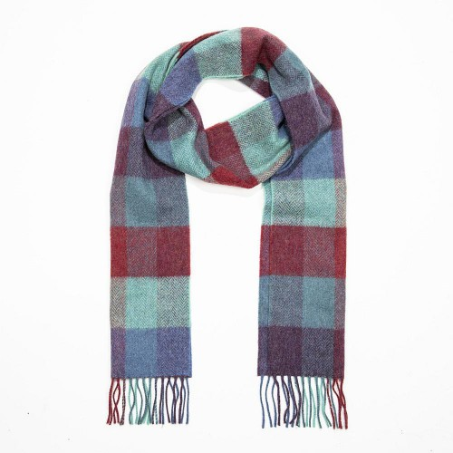 John Hanly Irish Wool Scarf Long Denim Green Purple Herringbone Block