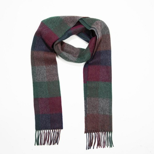 John Hanly Irish Wool Scarf Long Navy Burgundy Green Herringbone Block 1953
